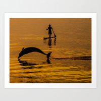 Dave the Dolphin and his friend the Paddle Boarder Art Print