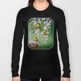 Goldfinches and Spring Apple Blossoms Long Sleeve T-shirt