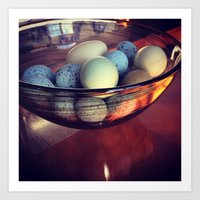 eggs Art Prints featuring Eggs by Yellow Barn Studio