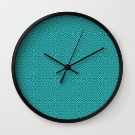 Tanager Turquoise and Teal Blue Repeat Pattern Wall Clock