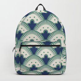 Fan Pattern Blue/Green Backpack