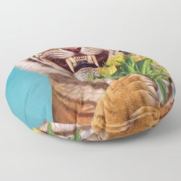 Smiling (shy) Tiger - holding bouquet (tulip) Floor Pillow