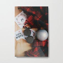 Oreo Cookies Xmas Flatlay Metal Print