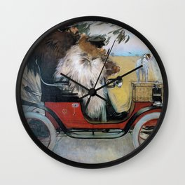 Ramon Casas And Pere Romeu In An Automobile - Digital Remastered Edition Wall Clock