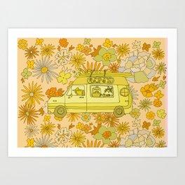 van life flower power // retro surf art by surfy birdy Art Print