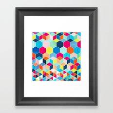 Super Bright Color Fun Hexagon Pattern Framed Art Print