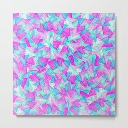 Purple Blue Teal Hand Painted Watercolor Triangles Metal Print