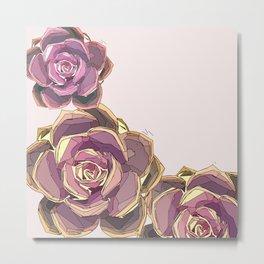 Mauve Pink Abstract Echeveria Succulent Art Metal Print