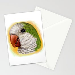 Green quaker parrot realistic painting Stationery Cards