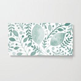 Gradient teal leaves Metal Print