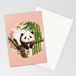 Panda under sunlight - Pink Stationery Cards