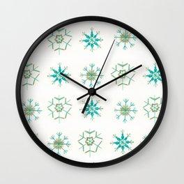 Snowflakes Pattern #1 #drawing #mint #gold #decor #art #society6 Wall Clock