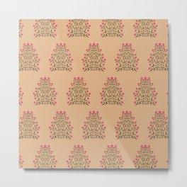 Indian Flower Motif Pattern - Pink & Burnt Coral Metal Print