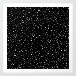 Zodiac Star Constellations Pattern Kunstdrucke