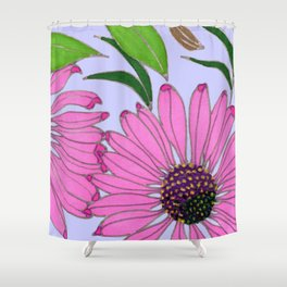 Echinacea on Lavender Shower Curtain