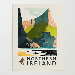 Northern Ireland retro travel poster - Giant's Causeway Amphitheatre Poster