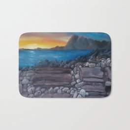 Sunset at Elgol Beach, Fantastic Modern Oil Painting on Canvas, Landscape by Luna Smith Bath Mat