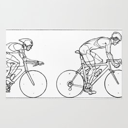 Transitions through Triathlon Cyclists Drawing B Rug