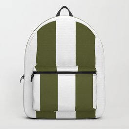 Dark Terrarium Moss Green and White Wide Vertical Cabana Tent Stripe Backpack