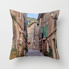 Narrow street in Valldemossa village - Mallorca, Spain Throw Pillow