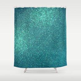 Chic Elegant Teal Blue Sparkly Glitter  Shower Curtain