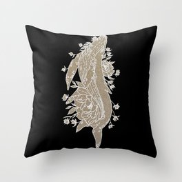 Floral Whale Design Throw Pillow