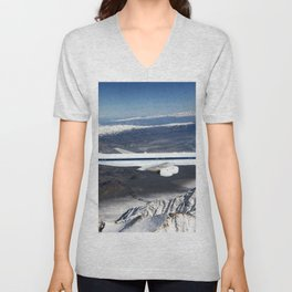 The DC-8 in flight near Lone Pine Calif In the foreground are the Sierra Nevada Mountains covered wi Unisex V-Neck