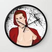stiles stilinski Wall Clocks featuring Demon!Stiles by Caincarrots