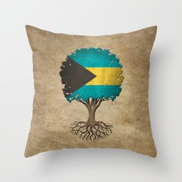 Vintage Tree of Life with Flag of Bahamas Throw Pillow