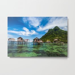 Bajau Laut Stilt Village Metal Print