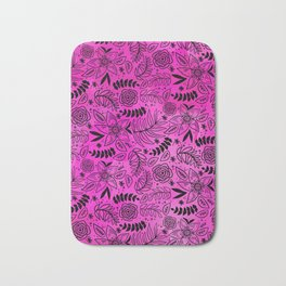 Black Outline Floral on Hot Pink Watercolor Bath Mat