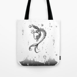 King Fish - Black and White Underwater Fish Bones King Illustration Tote Bag