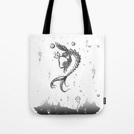 King Fish - Black and White Underwater Fish Bones King Illustration Tote Bag