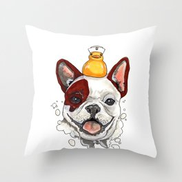 Friendship, Happy Frenchie, Little Ducky Throw Pillow