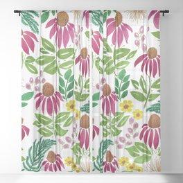 Echinacea Summer Florals Pattern Original Sheer Curtain