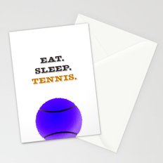 Eat. Sleep. Tennis. (Black) Stationery Cards