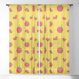 Red Tomatoes Pattern On Yellow Sheer Curtain