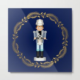 The Nutcracker Christmas Special - Drummer Boy in Golden Christmas Wreath (Royal Blue) Metal Print