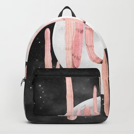 Cactus Nights Full Moon Starry Sky Pink by Nature Magick Backpack