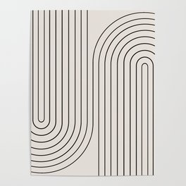 Minimal Line Curvature - Black and White I Poster