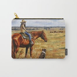 Young Cowgirl on Cattle Horse Carry-All Pouch