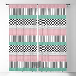Pink and Teal Striped Pattern Blackout Curtain