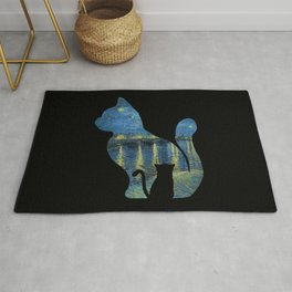 Cat Watching The Starry Night Over The Rhone - Van Gogh Painting Rug