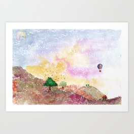 Mystical Landscape Watercolor. Art Print