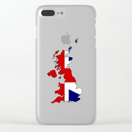 United Kingdom Map and Flag Clear iPhone Case