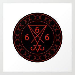 666- the number of the beast with the sigil of Lucifer symbol Art Print