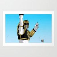 power ranger Art Prints featuring White Ranger Tiger Power by Will Burton