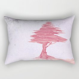 Red Tree watercolor on old paper Rectangular Pillow