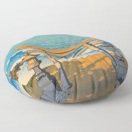 Kawase Hasui - Travel Souvenir Third Collection, Pacific Ocean, Boshu - Digital Remastered Edition Floor Pillow