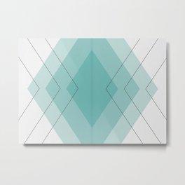 Teal Diamonds Metal Print